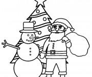 Coloriage et dessins gratuit Père Noël et Le Sapin à imprimer
