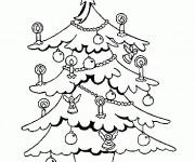 Coloriage Pochoir Sapin de Noël