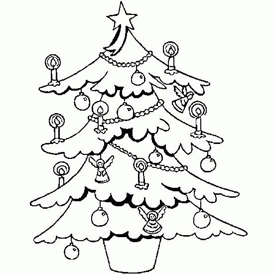 Coloriage et dessins gratuits Pochoir Sapin de Noël à imprimer