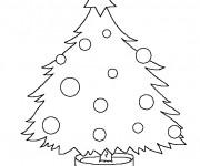 Coloriage Sapin de Noël avec simple décoration