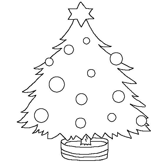 Coloriage et dessins gratuits Sapin de Noël avec simple décoration à imprimer
