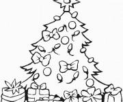 Coloriage Sapin de Noël décoration