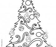 Coloriage et dessins gratuit Sapin de Noël décoré à imprimer