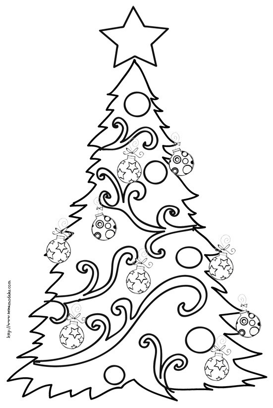Coloriage et dessins gratuits Sapin de Noël décoré à imprimer
