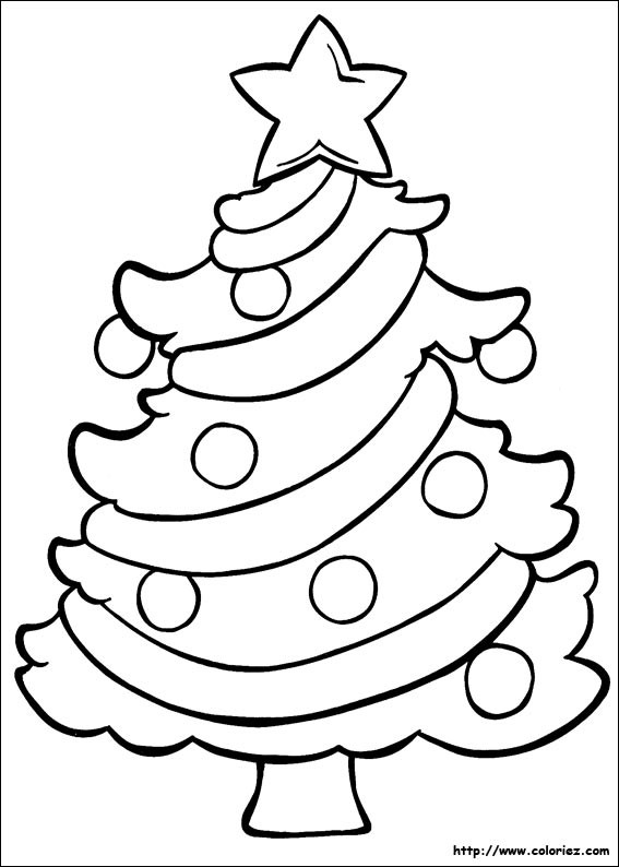Coloriage et dessins gratuits Sapin de Noël décoré en étoile à imprimer