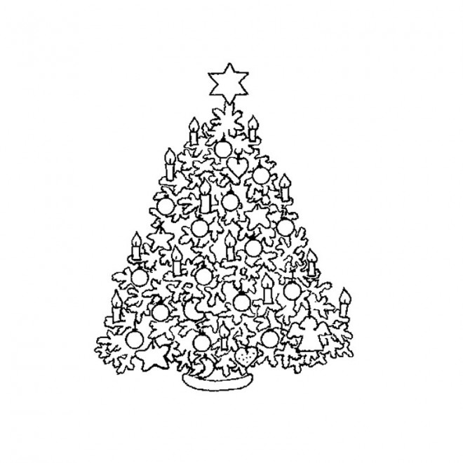 Coloriage et dessins gratuits Sapin de Noël en Chandelles à imprimer