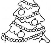 Coloriage Sapin de Noël enjolivé