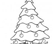 Coloriage Sapin de Noël enneigé
