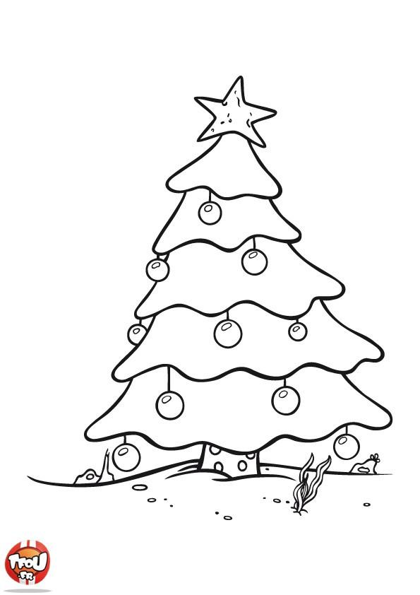 Coloriage Sapin de Noël enneigé dessin gratuit à imprimer