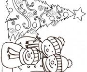 Coloriage Sapin de Noël et Bonhomme de Neige