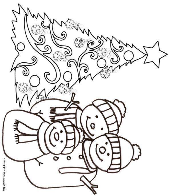 Coloriage et dessins gratuits Sapin de Noël et Bonhomme de Neige à imprimer