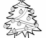 Coloriage Sapin de Noël et boules