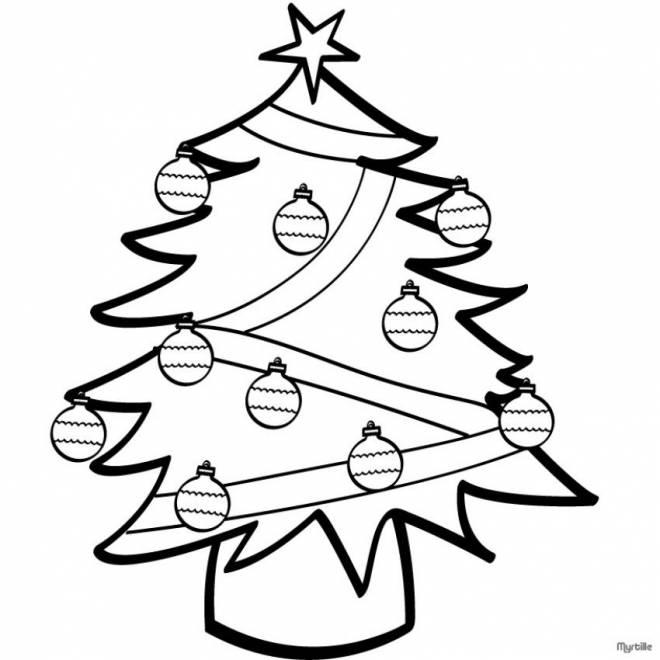 Coloriage et dessins gratuits Sapin de Noël et boules à imprimer