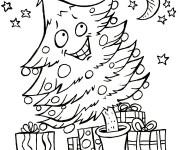 Coloriage Sapin de Noël heureux