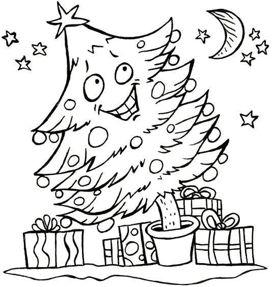 Coloriage et dessins gratuits Sapin de Noël heureux à imprimer