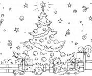 Coloriage Sapin et Beaucoup de cadeaux de Noël