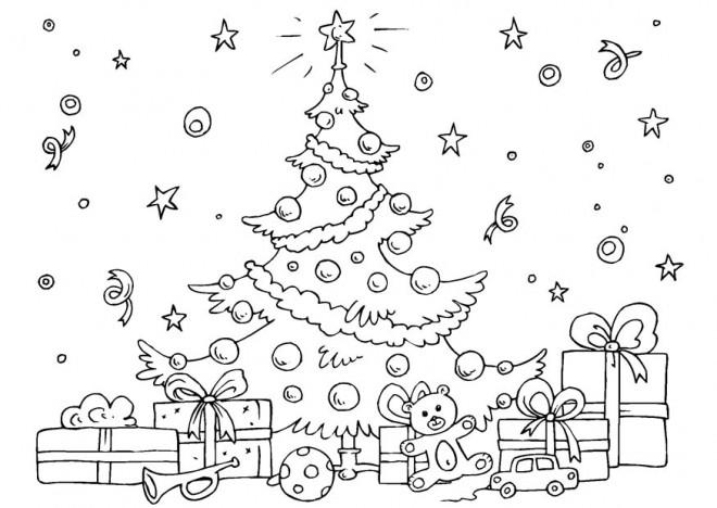 Coloriage Sapin Et Beaucoup De Cadeaux De Noel