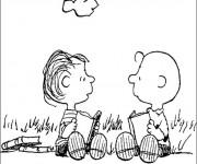 Coloriage Charlie Brown et Ben en plein air