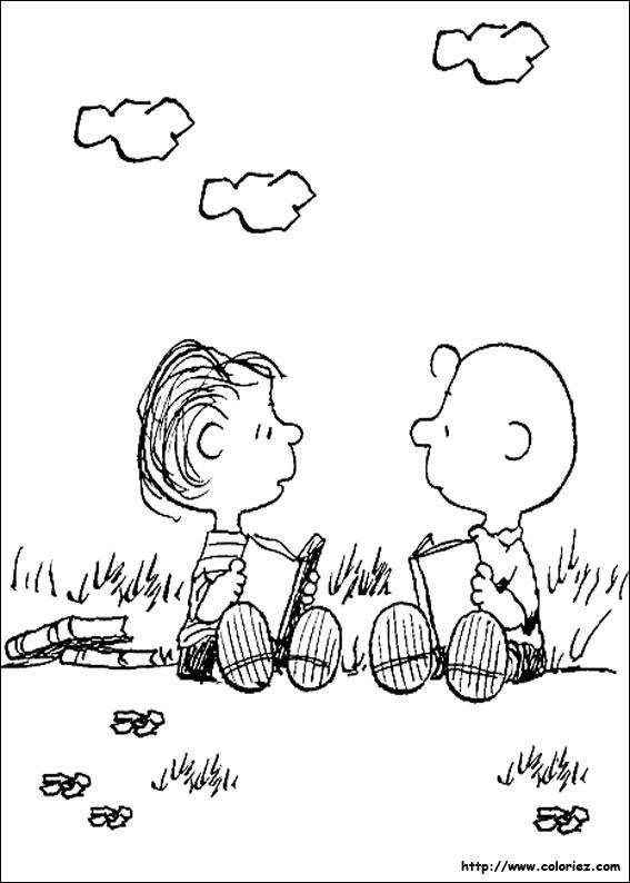 Coloriage et dessins gratuits Charlie Brown et Ben en plein air à imprimer