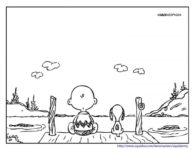 Coloriage et dessins gratuits Charlie et Snoopy près de la rivière à imprimer