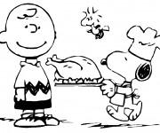 Coloriage Chef Snoopy prépare le diner