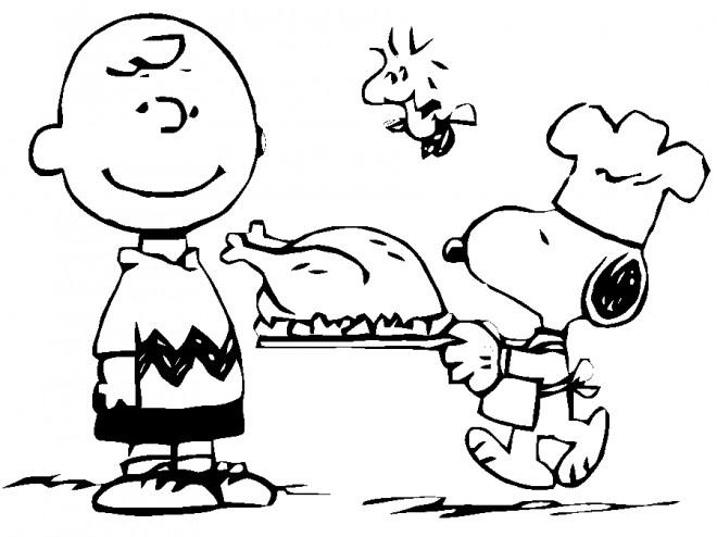Coloriage et dessins gratuits Chef Snoopy prépare le diner à imprimer