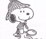 Coloriage et dessins gratuit Detective Snoopy à imprimer