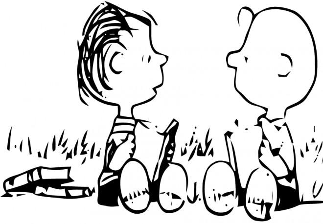 Coloriage et dessins gratuits Linus et Charlie lisent des livres à imprimer