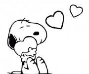 Coloriage et dessins gratuit Snoopy amoureux à imprimer