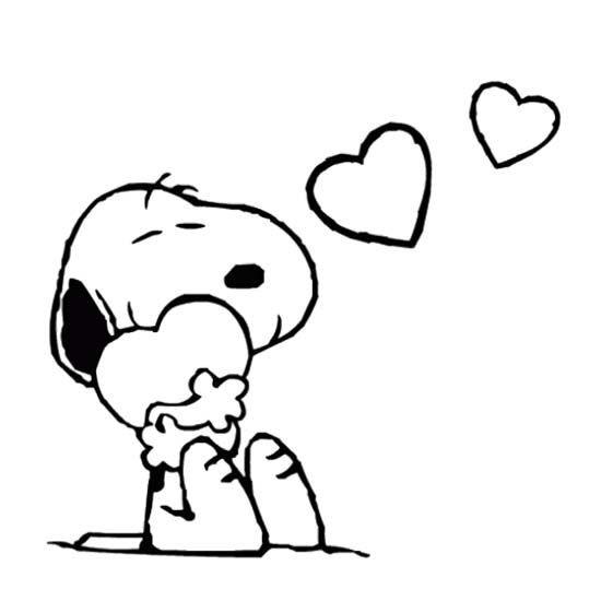 Coloriage Snoopy Amoureux Dessin Gratuit à Imprimer