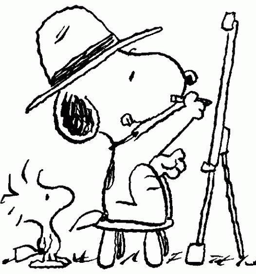 Coloriage et dessins gratuits Snoopy artiste pour enfant à imprimer