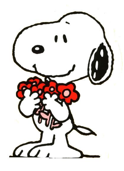Coloriage et dessins gratuits Snoopy collecte des Fleurs à imprimer