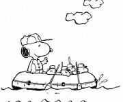 Coloriage Snoopy dans le navire