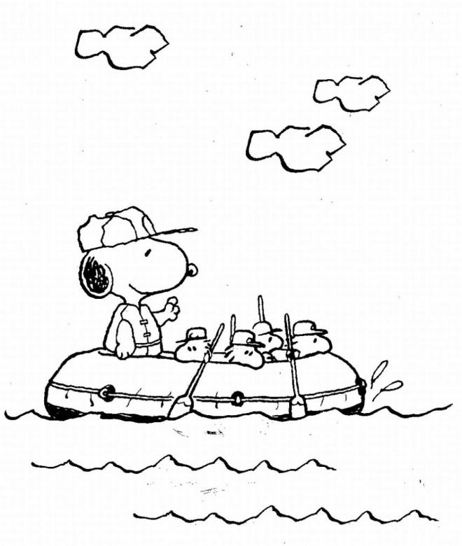 Coloriage et dessins gratuits Snoopy dans le navire à imprimer