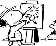Coloriage Snoopy dessine Woodstock