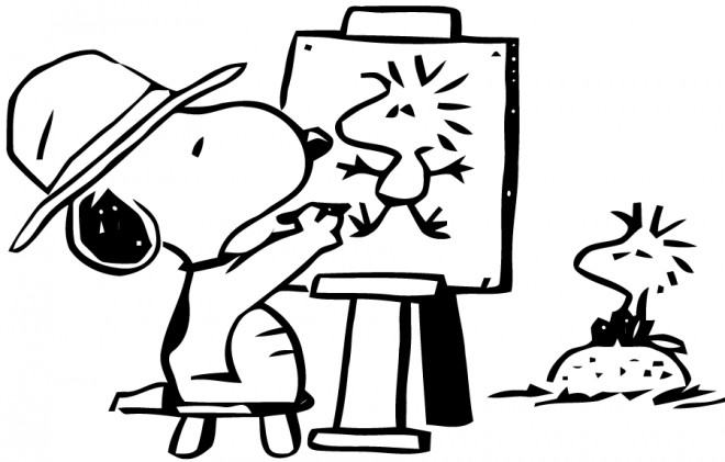 Coloriage et dessins gratuits Snoopy dessine Woodstock à imprimer