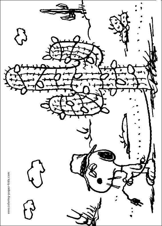 Coloriage et dessins gratuits Snoopy drôle dans le désert à imprimer