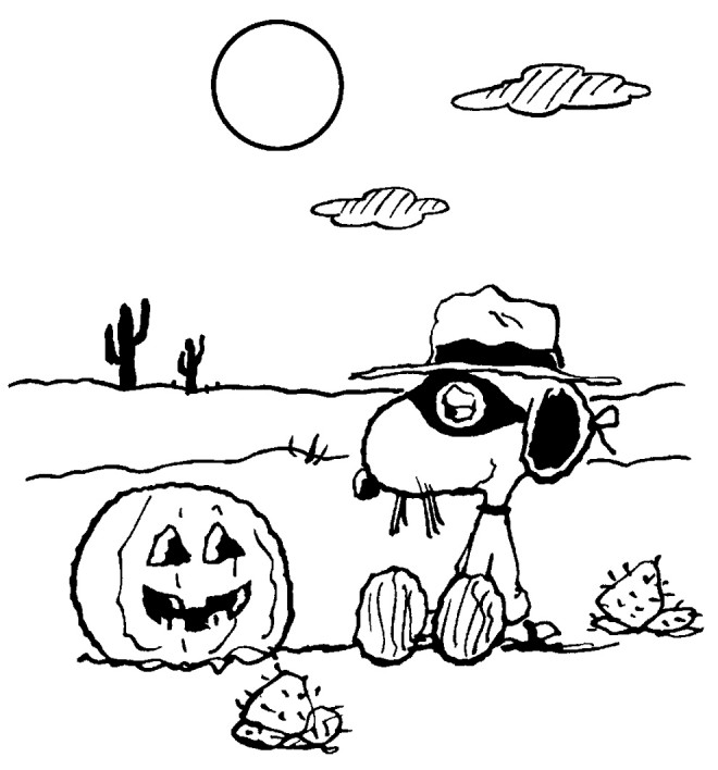Coloriage et dessins gratuits Snoopy en Halloween à imprimer