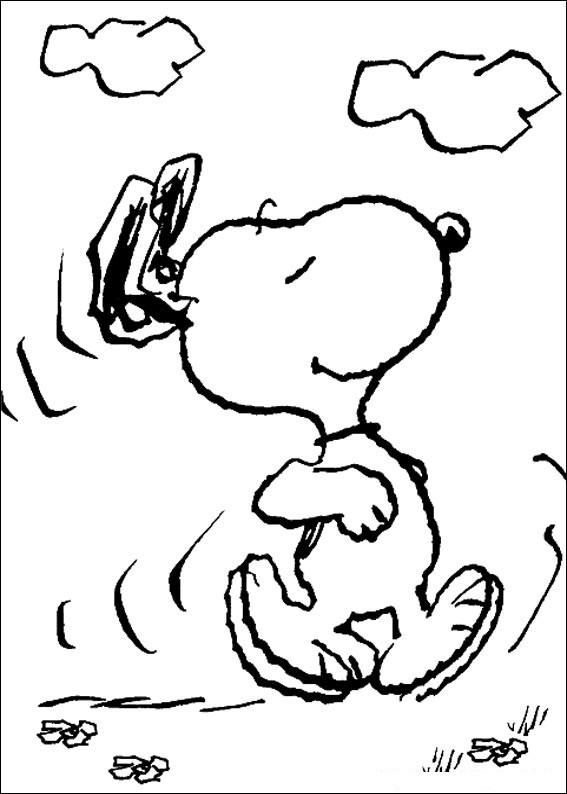 Coloriage et dessins gratuits Snoopy en marche à découper à imprimer