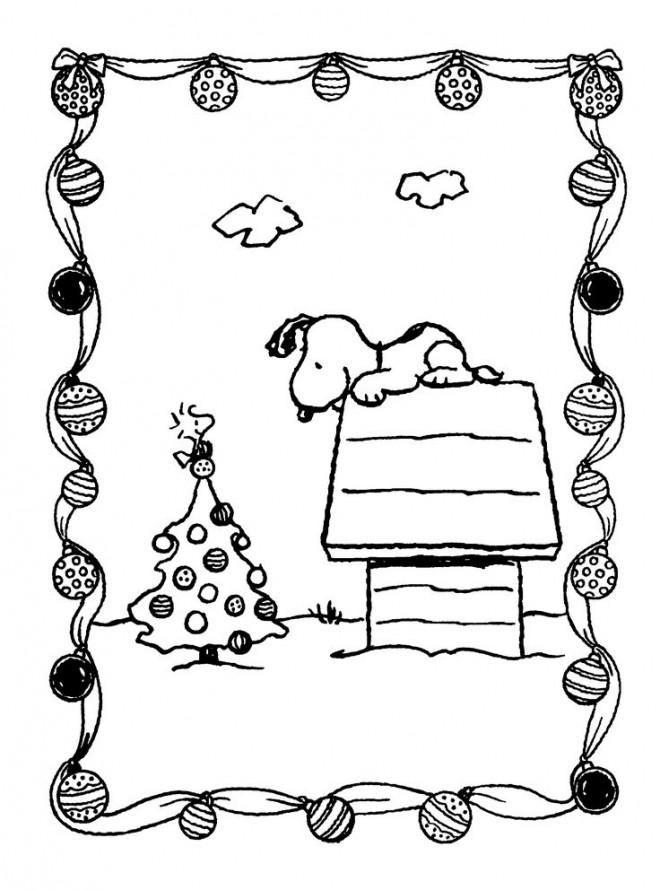 Coloriage et dessins gratuits Snoopy en Noel à imprimer