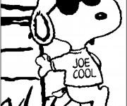 Coloriage et dessins gratuit Snoopy en noir à imprimer
