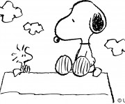 Coloriage Snoopy en plein air