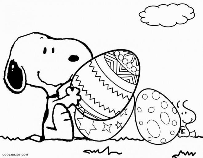 Coloriage et dessins gratuits Snoopy en train de jouer en plein air à imprimer