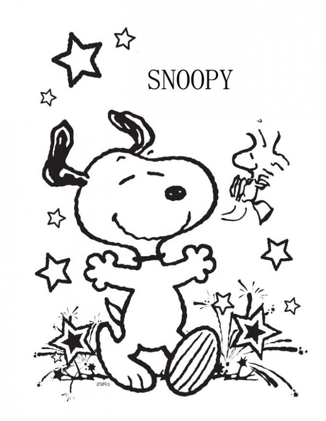 Coloriage et dessins gratuits Snoopy et L'oiseau Jaune à imprimer