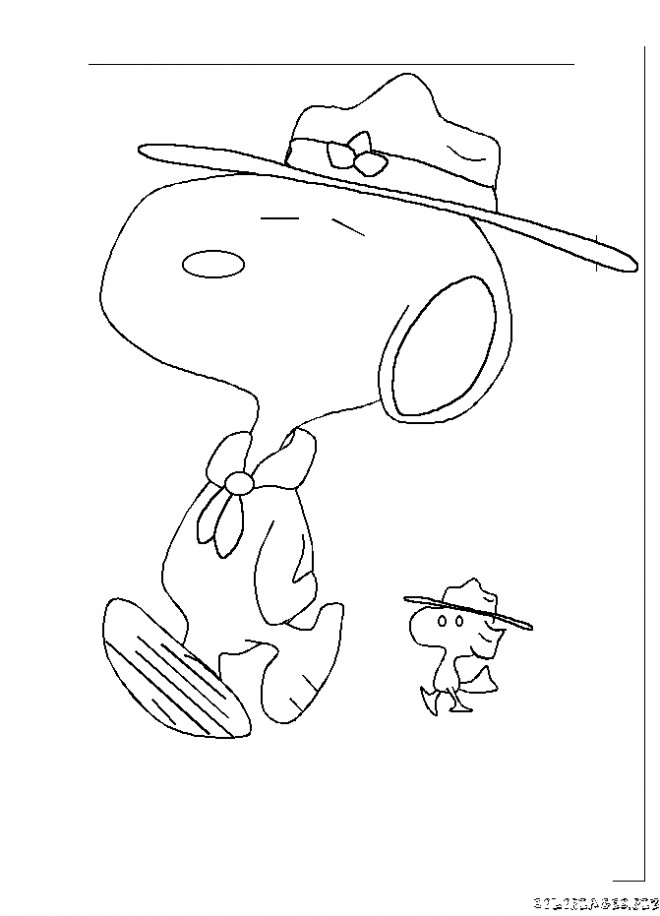 Coloriage et dessins gratuits Snoopy  et oiseau jaune simple à imprimer