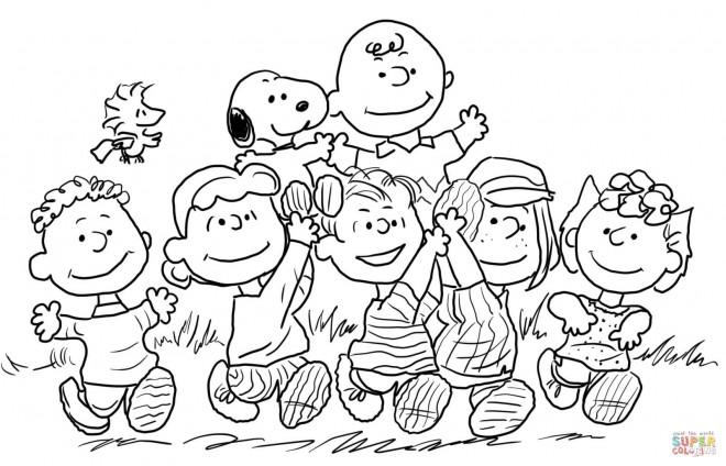 Coloriage et dessins gratuits Snoopy et ses amis dessin animé à imprimer