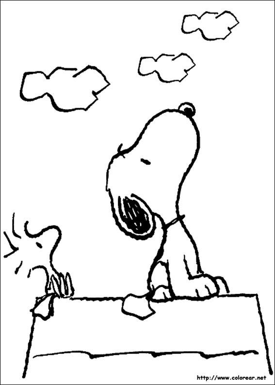 Coloriage et dessins gratuits Snoopy et Woodstock à imprimer