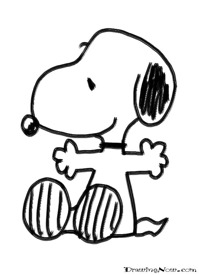 Coloriage et dessins gratuits Snoopy facile au crayon à imprimer