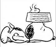 Coloriage Snoopy fatigué