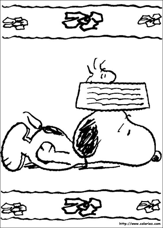 Coloriage et dessins gratuits Snoopy fatigué à imprimer